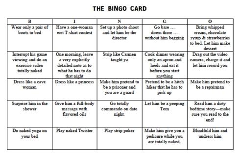 getting lucky bingo card